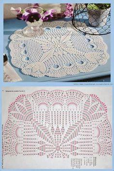 Tkackie Arts w Crochet: Dwie chusteczki z piękną grafiką! Weaving Arts in Crochet: Two Toalhinhas with Beautiful Graphics! This Pin was discovered by kat Crochetando com Maria Mantovani Mantel a crochet Crochet Doily Diagram, Crochet Doily Patterns, Crochet Chart, Crochet Squares, Thread Crochet, Filet Crochet, Crochet Designs, Crochet Stitches, Crochet Patron
