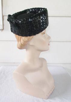 1950s Vintage Black Sequinned Pillbox Hat with by MyVintageHatShop