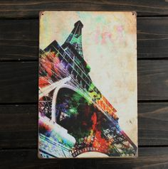 Eiffel Tower Sheet Metal Painting Retro Metal Pub Club Cafe Home Poster Sign Tin Decor