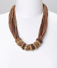 Loving this Gold & Brown Gem Beaded Multistrand Necklace on #zulily! #zulilyfinds