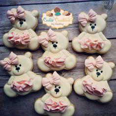 Teddy Bear decorated cookies Fancy Cookies, Cute Cookies, Valentine Cookies, Iced Cookies, Holiday Cookies, Cupcake Cookies, Sugar Cookies, Teddy Bear Birthday Cake, Birthday Cookies
