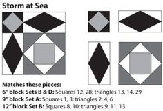 Storm at Sea Quilt Block Templates