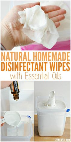 Love disinfectant wipes but not the alcohol and chemicals? Here's how to make your own all-natural disinfectant wipes using essential oils!