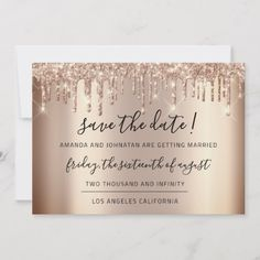 Shop Save The Date Rose Gold Drips Spark Glitter created by luxury_luxury. Personalize it with photos & text or purchase as is! Beauty Business Cards, Business Cards Layout, Gold Business Card, Simple Business Cards, Gold Save The Dates, Wedding Save The Dates, Save The Date Cards, Gold Wedding Theme, Wedding White
