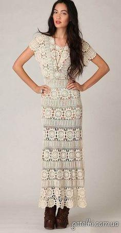 Нарядное длинное платье крючком. фото #1