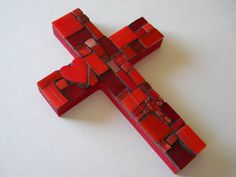 Items similar to SOLD!! - Little Red Heart Mosaic Cross on Etsy
