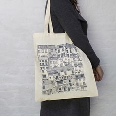 Coastal Cottages tote bag designed by Jessica Hogarth and printed in the UK. Fashion bag featuring architectural illustrations by jessicahogarth on Etsy https://www.etsy.com/listing/173561247/coastal-cottages-tote-bag-designed-by