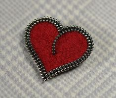 Zipper/Recycled Felted Wool Sweater Zipper Brooch/Pin Red