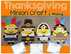 Your students will love these adorable Thanksgiving Minions! These printable templates include materials for creating 4 types of Minions:*Classic Minion with Overalls (hair bow and bow tie included for accessories)*Turkey with Feathers Minions(plain or decorated feathers included)*Boy and Girl Pilgrim Minions*Boy and Girl Native Americans MinionsPerfect for bulletin boards &  doors, writing craftivities, or Thanksgiving placemats!