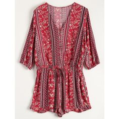 Button Up Printed Drawstring Romper (3050 ALL) ❤ liked on Polyvore featuring jumpsuits, rompers, red rompers, red romper, playsuit romper and drawstring romper