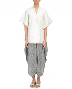 Relaxed cotton jacket over cotton dhoti pants