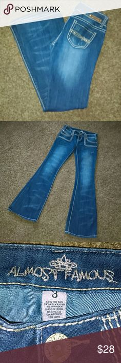 Almost Famous Jeans Size 3 Almost Famous Jeans. Like new condition! Only worn a few times! Almost Famous Jeans Flare & Wide Leg