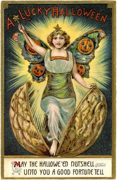 A Lucky Halloween  That's different! Amazing Vintage Halloween Fairy Image! - The Graphics Fairy