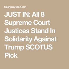 JUST IN: All 8 Supreme Court Justices Stand In Solidarity Against Trump SCOTUS Pick
