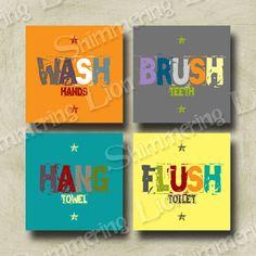 Kids Bathroom Bath Wash Brush Hang Flush Printable Wall Art Diy Yellow Colorful Customizable Quote Washroom