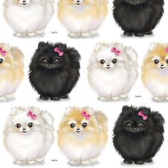 Pomeranians white fabric by catiacho on Spoonflower - custom fabric