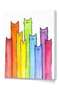 Watercolor Cat, Watercolor Pattern, Watercolor Animals, Watercolor Paintings, Watercolor Bookmarks, Art Fantaisiste, Cat Art Print, Rainbow Art, Rainbow Drawing