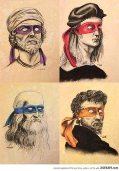 Las verdaderas Tortugas Ninja #geek #art