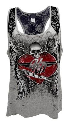 Harley-Davidson Womens Tank Top, Embellished Soul Of The Road, Gray HD215-001HGY #HarleyDavidson #TankCami #Casual