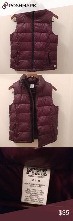 VS PINK Burgundy Puffer Vest Great Condition no flaws puffy vest! Purple/wine/maroon color. Pink logo on chest and side of hip. Super cute! Great for layering. Size medium. PINK Victoria's Secret Jackets & Coats Vests