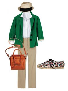Your Closet's Green Giant: Jacket, Coldwater Creek, $90; coldwatercreek.com.    Keep things clean:  The elements here may be simple (well, except for the funky flowered kicks), but the overall look is polished and super-pretty.  Hat, Block Headwear, $60; blockheadwear.com. Shirt, Uniqlo, $29.90; uniqlo.com for stores. Pants, Karen Kane, $98; karenkane.com. Bag, Shop Suey Boutique, $48; shopsueyboutique.com. Sneakers, Coconuts, $69; piperlime.com.