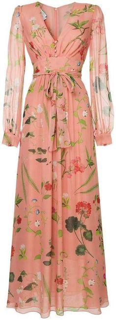 Shop now Oscar de la Renta botanical print evening dress for at Farfetch UK. Oscar Dresses, Evening Dresses, Summer Dresses, Mode Hijab, Pink Dress, Trendy Outfits, Beautiful Dresses, Wrap Dress, Fashion Dresses