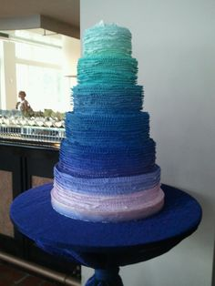 #Blue #ombre #wedding #cake