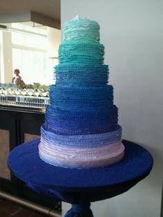 #Blue #ombre #wedding #cake