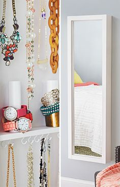 This DIY wall cabinet combines a full-length mirror with hidden storage for jewelry. --Lowe's Creative Ideas