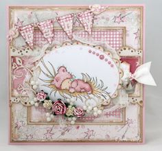 Pink baby card. Papers by Magnolia, image by LOTV colored with Copics.