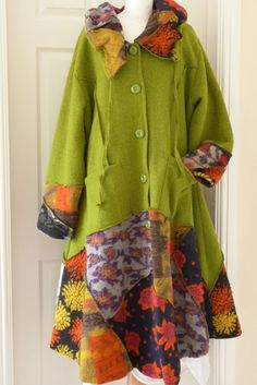 STUNNING SARAH SANTOS WOOL arty/edgy DESIGNER lagenlook long coat OSFA green #sarahsantos