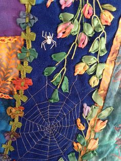 Spider and web on Memphis Blues. crazy quilt by Bette Densford