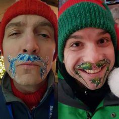 Christmas winter moustache face paint Face Painting For Boys, Face Painting Designs, Painting Tattoo, Body Painting, Face Paint Makeup, Makeup Art, Moustache Party, Christmas Face Painting, Pregnant Belly Painting