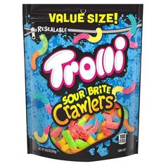 Trolli Sour Brite Crawlers Gummy Worms, 28 Ounce Bag (Pack of for sale online 100 Calories, Sour Gummy Worms, Chewy Candy, Sour Candy, Fruit Punch, Gift Finder, Candy Bags, Halloween Candy, Birthday List