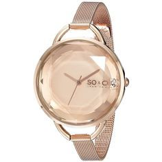 SO&CO New York.4 SoHo Analog Display Japanese Quartz Rose Gold Watch ($37) ❤ liked on Polyvore featuring jewelry, watches, analog watches, rose gold bracelet, mens wrist watch, womens jewellery and quartz wrist watch