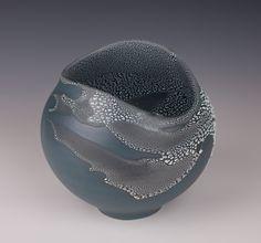 Altered Vessel, Dark Blue slip with White Crawl Glaze -