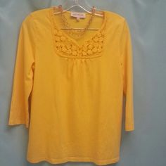 Jones N.Y. tee Beautiful yellow 3/4 sleeve tee from Jones N.Y.  Lovely crochet detail at neckline.  Nearly new.  Size says L but fits more like a M. Jones New York Tops