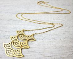 Long Mizu Necklace, signature necklace, gold silver wave Japanese inspired pendant jewelry on Etsy, $77.00