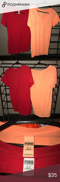 2 Victoria's Secret PINK V-Necks One red and one orange, both size medium in good condition PINK Victoria's Secret Tops Tees - Short Sleeve