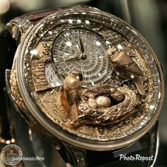 From Swiss Watches - Jaquet Droz bird repeater engraved & set with 128 baguette-cut diamonds. Amazing Watches, Beautiful Watches, Cool Watches, Unique Watches, Casual Watches, Mens Designer Watches, Luxury Watches For Men, Skeleton Watches, Expensive Watches