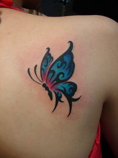 Chronic Ink Tattoos, Toronto Tattoo shop - Colour butterfly on back