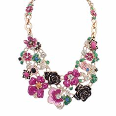 Free shipping today - 2015 New design fashion women necklace cluster of gorgeous flowers Luxurious appearance glittering faceted rhinestones