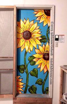 Painted Bedroom Doors, Art Room Doors, Painted Doors, Room Wall Painting, Mural Painting, Room Paint, Paintings, Wal Art, Door Murals