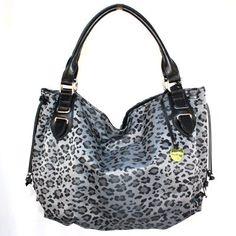 Leopard Animal Print Gray Black Round Hobo Shoulder Bag Double Rolled Handles
