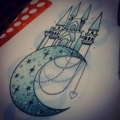 For Jodi x #tattoo #design #moon #castle #neotraditional #art #ladytattooers #uktattoo #plymouth #tattooartist