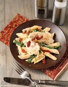 Penne with Chicken, Sun-Dried Tomatoes and Spinach+ name of slow cooker revolution cookbook from America's test kitchen
