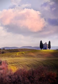 Tuscany, Italy. This looks like a corny painting but I swear this is what it looks like.