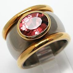 Pink Tourmaline Wide Band Ring Sterling Silver & 18K Gold