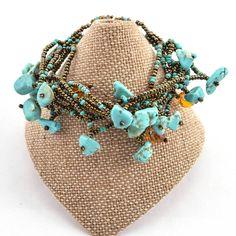 Chunky Stone Bracelet - Turquoise - Lucias Imports (J)