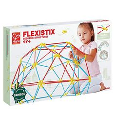 $34.99, Hape Flexistix STEM Building Geodesic Structures, Featuring 177 Multi-Colored Bamboo Pieces